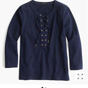 J. Crew Long Sleeve Lace Up Shirt